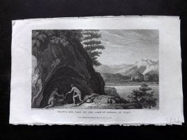 Gallery of Nature 1818 Antique Print. Grotto del Cane, Lake of Agnano, Italy